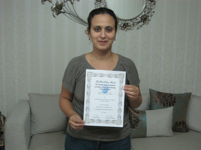 Dr. Leila Ben Moussa received Poster award in the Tunisia-Japan Symposium on Science, Society and Technology, 2013.